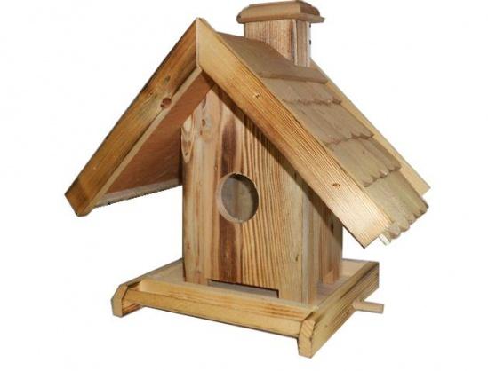 Krmítko pre vtákov drevené-domček 13525