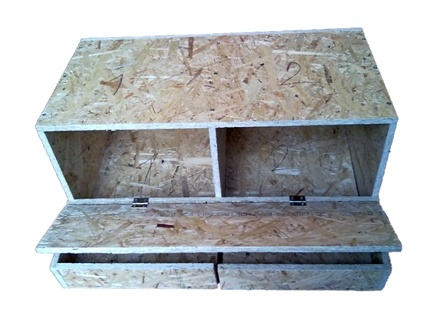 Dvoj-hniezdo pre sliepky drevotrieska (VYBERANIE VAJEC SPREDU) 9300